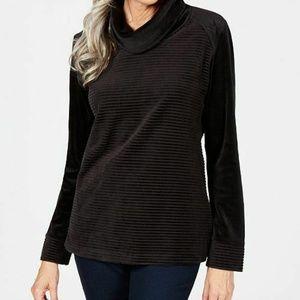 Karen Scott Womens 0X I4-05 Black sweater